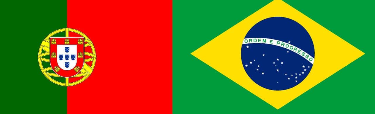 bandeiras de brasil e portugal