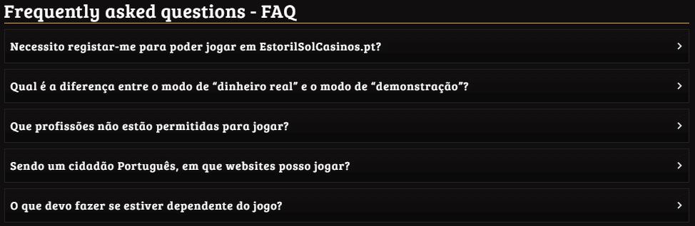 Estoril Sol Casino perguntas frequentes